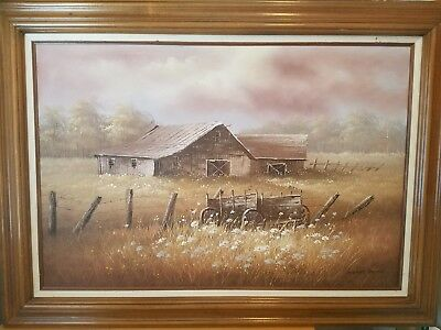 Large James Young Orignal Barn Oil Painting ,Wooden Frame, Great Condition.