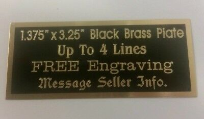 "Engraved Black Brass Plate, 1.375"" x 3.25"", FREE ENGRAVING plaque, award, trophy"