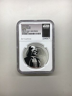 2017 Niue 1 oz Silver Star Wars Darth Vader $2 NGC MS70 1 of First 1,000 Struck