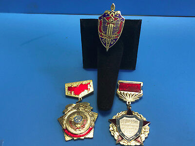 Vtg Collectible USSR Soviet Russia Lot Of 3 Enamel & Metal KGB Pin Badge Medals