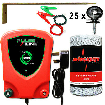 Electric Fence Energiser Fencer PLM202 0.2J Mains White Wire 25 Ring Kit