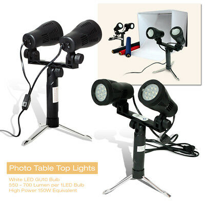 "Photo Studio Table Top Lights w/ Stand 9.5""x8"" LED 150W Double Head Photography"