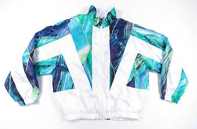 80S 90S Colorblock Full Zip White Abstract Windbreaker Jacket Vintage Small