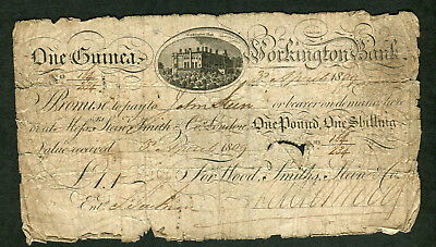 GREAT BRITAIN Provincial One Guinea Workington Bank 3rd April 1809 VG
