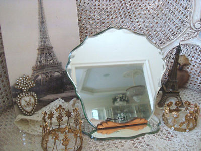 Gorgeous Vintage French Beveled Fancy Cut Vanity Table Mirror with Stand **SALE*