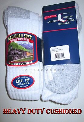 4 Pairs Mens Railroad Sock Steel Toe Heavy Duty Cotton Cushioned Over Calf Socks