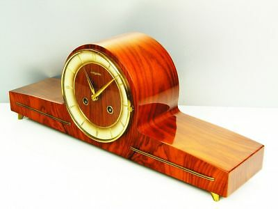 Very Beautiful Later Art Deco  Chiming Mantel Clock From Dugena Hermle