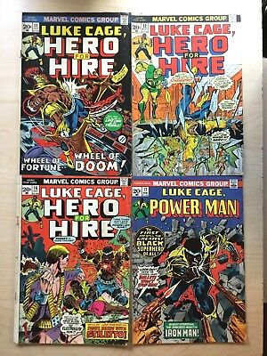 4 Issue Lot of Early Luke Cage Hero for Hire v.1  11-12, 16-17 (vs Iron Man)!