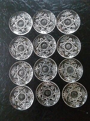 """Vintage Lot Of 12 Anchor Hocking Star Of David Press Cut Clear 4 1/2"""" Coasters"""
