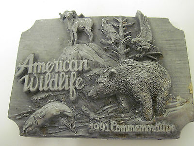 Vintage 1991 American Wildlife Grizzly Bear Low Numbered Brass Belt Buckle