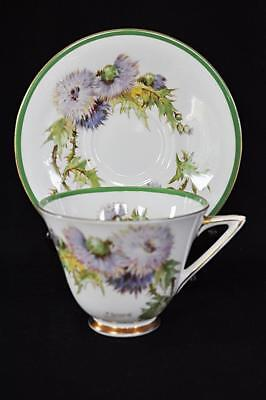 Exquisite Royal Doulton GLAMIS THISTLE Bone China Teacup Saucer SIGNED P CURNOCK