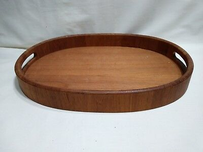Vintage Teak Oval Tray - Goodwood Genuine Teak - Thailand - 12 x 17 x 2
