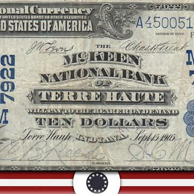 1902 $10 TERRE HAUTE, IN National Currency  VIGO COUNTY  45389
