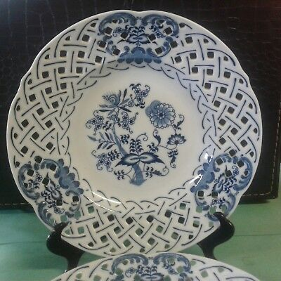 """Blue Danube - US PAT Rectangle Backstamp - RETICULATED Plate - 10 1/4"""""""""""