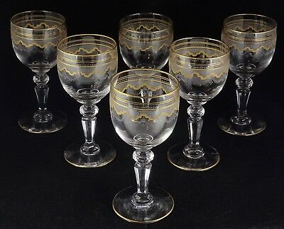 Six St. Louis Crystal Beethoven Wine Glasses #851 Etched Frosted Band Gold Tr.