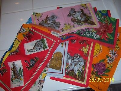 vintage retro  LOT of 13 Australian design LADIES HANDKERCHIEFS  Hankies NEW
