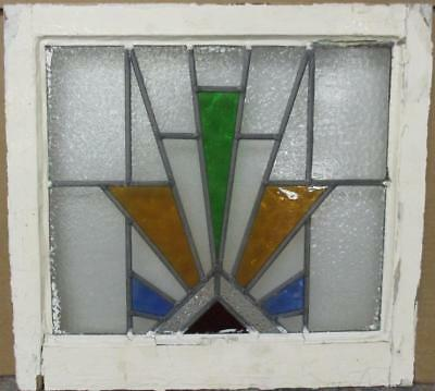 "OLD ENGLISH LEADED STAINED GLASS WINDOW Colorful Geometric Burst 20.25"" x 19"""