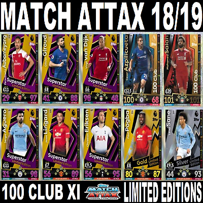 TOPPS MATCH ATTAX 2018/2019 EPL ☆ LIMITED EDITIONS ☆100 Club XI BUY 3 GET 1 FREE