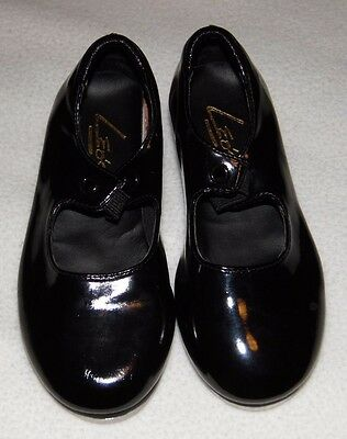 """Little Girls """"Leo's"""" Black Patent Leather Tap Shoes Size 9.5"""