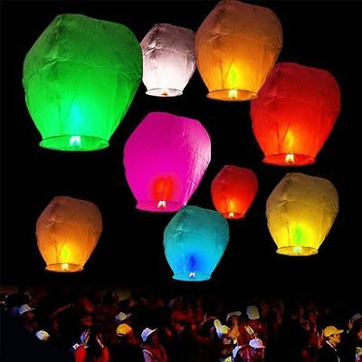 10/20/30/50pcs Paper Chinese Lanterns Sky Fly Candle Lamp for Wish Party Wedding
