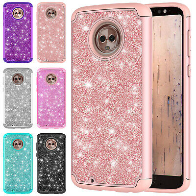 For Motorola Moto G7 Power G6 E4 E5 Z4 Play Bling Diamond Silicone Case PC Cover