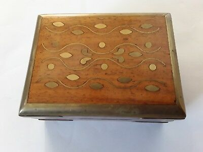 Vintage English brass hinged and brass inlaid small wooden trinket box