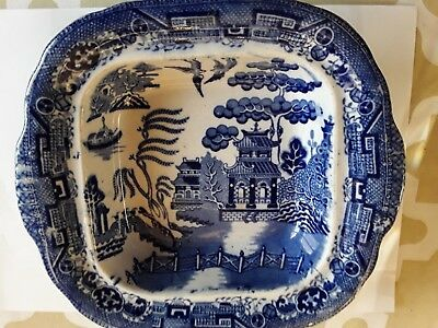 Gorgeous 1790 Antique square blue white Chinese willow pattern English dish 22cm