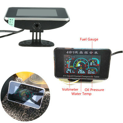 4 In 1 LCD Digital Truck Oil Pressure/Voltage/Water Temperature/Oil Fuel Gauge