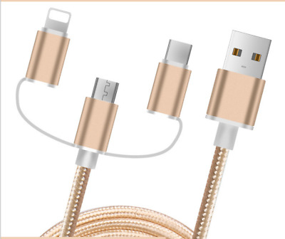 Heavy Duty Metal Braided Lightning USB Charger data  Cable 1M For Mobile phone