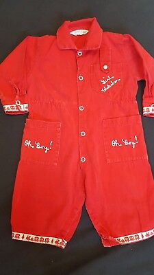 "Vtg Infant ""draper Jeans"" Coverall Overall Romper Embroidered Girl Watcher 3-6M?"