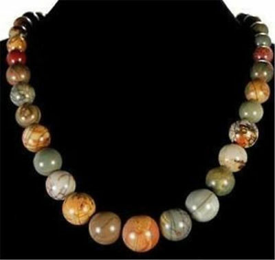 Natural 6-14mm Multicolor Picasso Jasper Beads Necklace 18''