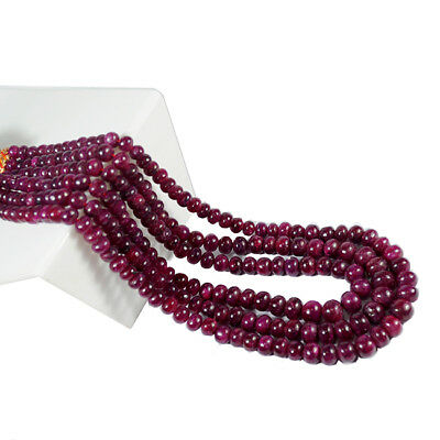 """400 Ct (Approx) Natural African Red Ruby Round Cabochon 7-10mm Beads 18""""~Strand"""