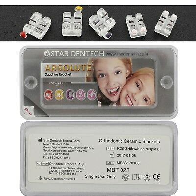 Dental Orthodontic Brackets Sapphire Brace MBT 022 Slot 345 Hook Star Absolute