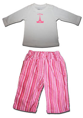 New FRED BARE Size 00 Eiffel Tower Tee + Target Striped Pants SET