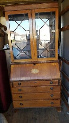 Inlaid Edwardian Bureau Bookcase