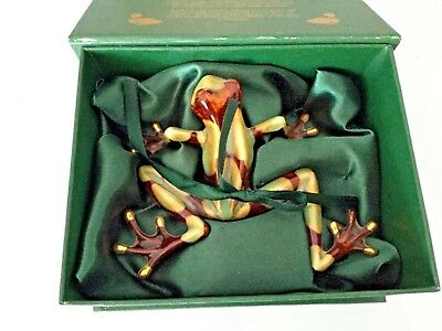 Green Brown Glazed Ceramic Frog Ornament - Boxed - Golden Pond Coll VGC Unwanted