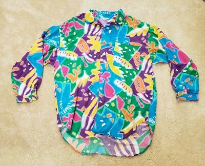 80s VINTAGE ESPRIT SPORT BUTTON UP SHIRT BRIGHT RAYON NEW WAVE ABSTRACT LARGE