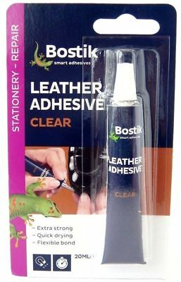 Bostik Leather Adhesive Clear Leather Glue Belts Handbags Purses Super Glue 20ml
