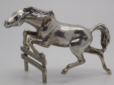 Vintage Solid Silver Italian Made Horse Jumping Show Statue, Figurine, Stamped