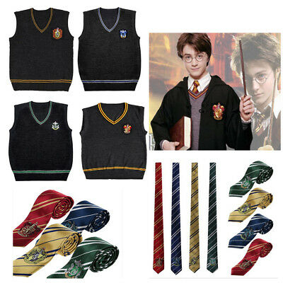Harry Potter Sweater Vest Cosplay Gryffindor Slytherin Hufflepuff Ravenclaw /Tie
