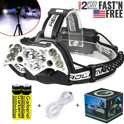 Super-bright 150000LM 5x T6 LED Headlamp Head Light Torch Rechargeable 18650 USB