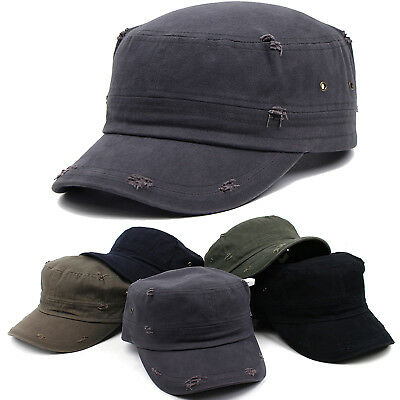 Men Women Classic Distressed Vintage Army Military Cadet Patrol Castro Caps Hats