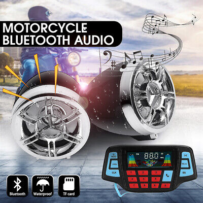 3'' Bluetooth Motorcycle Handlebar Audio USB SD FM Radio MP3 Player Speakers US