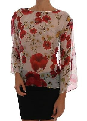 d83de5b94a3 NEW $800 DOLCE & GABBANA Blouse Top Floral Daisy Print Silk Print IT44 /  US10 /
