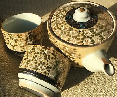GOLD Hand Painted Chinese or Japanese TEA SET - POT & 2 CUPS - w/ Chrysanthemums