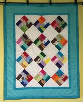 Baby Quilt Square On Point Turquoise Green Colorful Cotton Easy Care Handmade