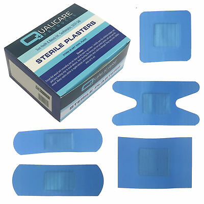 Qualicare Sterile Hypo-Allergenic Blue Catering Kitchen Plasters 5 Sizes x100