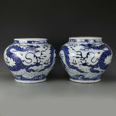 A Pair Rare Chinese Ming Blue&White Porcelain Dragon Pot
