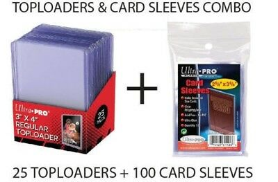 Ultra Pro Top Loader + Card Sleeves Combo 100 Soft Card Sleeves & 25 Toploader