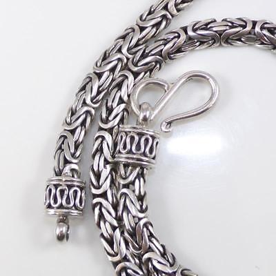 "Suarti Sterling Silver Woven Byzantine Chain Link Hook Eye Necklace 18"" 6mm LDH6"